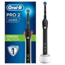 Braun Oral-B Pro 2 2000 Black Edition (schwarz/weiss), Mit Andruckkontrolle für extra Zahnfleischschutz