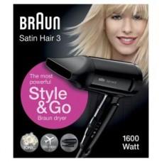 Braun Reise-Haartrockner Satin Hair 3 HD350 Style&Go, klappbar, schwarz