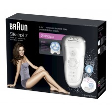 Braun Silk-épil 7 SkinSpa 7-921e Epilierer mit Gratiszugabe, weiß